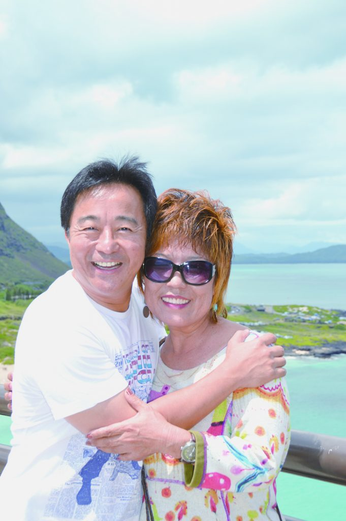Yoko Boughton and son Glenn a the Makapuu lookout in October 2014 during their first reunion since his birth 46 years earlier