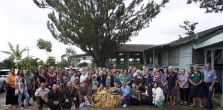 Members and supporters of the Wahiawa Nichiren Mission at the temple's 70th anniversary celebration. The Rev. Myoryu Aniya's great-granddaughter, Valerie Aniya Schmidt, and great-great grandson, Hunter Schmidt, performed shishi-mai lion dance. The Wahiawa Nichiren Mission does not have a resident minister anymore. These days, Hawaii Nichiren Mission ministers take turns leading services for the congregation. (Photo courtesy Valerie Schmidt)