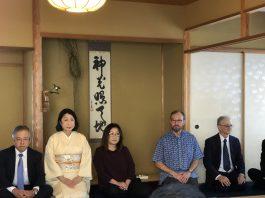 Hatsudate shiki guests (from left) included Consul General of Japan Koichi Ito, Misako Ito, Reyna Kaneko, Sean O'Harrow and Dr. Robert Huey.