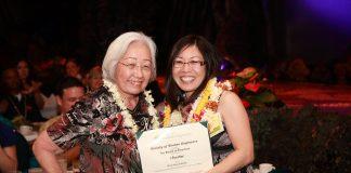 Mae Nishioka and Pearl Yamaguchi in 2012 at the Sheraton Waikiki Hotel at the chartering of the Society of Women Engineers Hawaiian Islands Chapter. (Photo courtesy Pearl Yamaguchi)