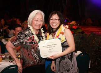 Mae Nishioka and Pearl Yamaguchi in 2012 at the Sheraton Waikiki Hotel at the chartering of the Society of Women Engineers Hawaiian Islands Chapter. (Photo courtesy Pearl Yamaguchi)