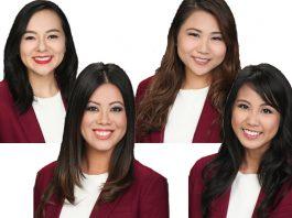 67th Cherry Blossom Festival Queen Contestants: Kallista Hiraoka (top left), Taylor Chee (bottom left), Michelle Chen (top right), and Jacqueline Arelliano (bottom right)