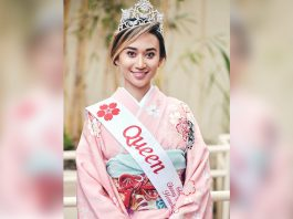 Queen Melanie Carríe at the Jan. 13 opening ceremonies of the 2019-2020 Cherry Blossom Festival, which was held at the Japanese Cultural Center of Hawai'i. (Photos courtesy Honolulu Japanese Junior Chamber of Commerce)