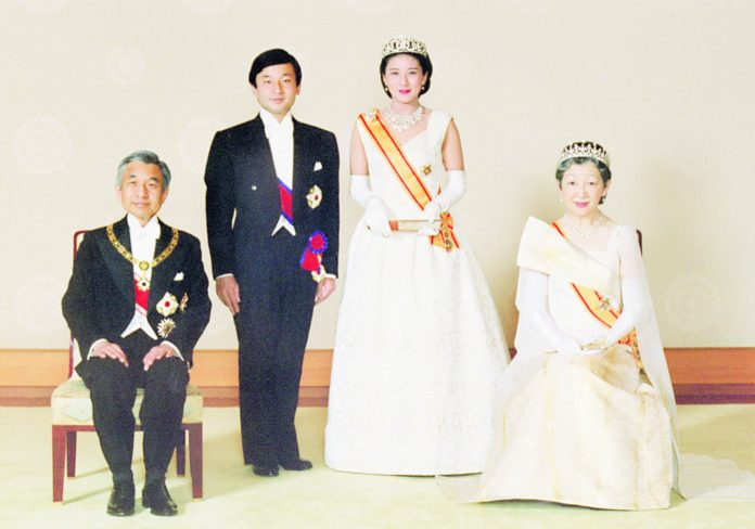 93709a90fb3 The current and future emperors of Japan — Emperor Akihito and Empress  Michiko (seated)