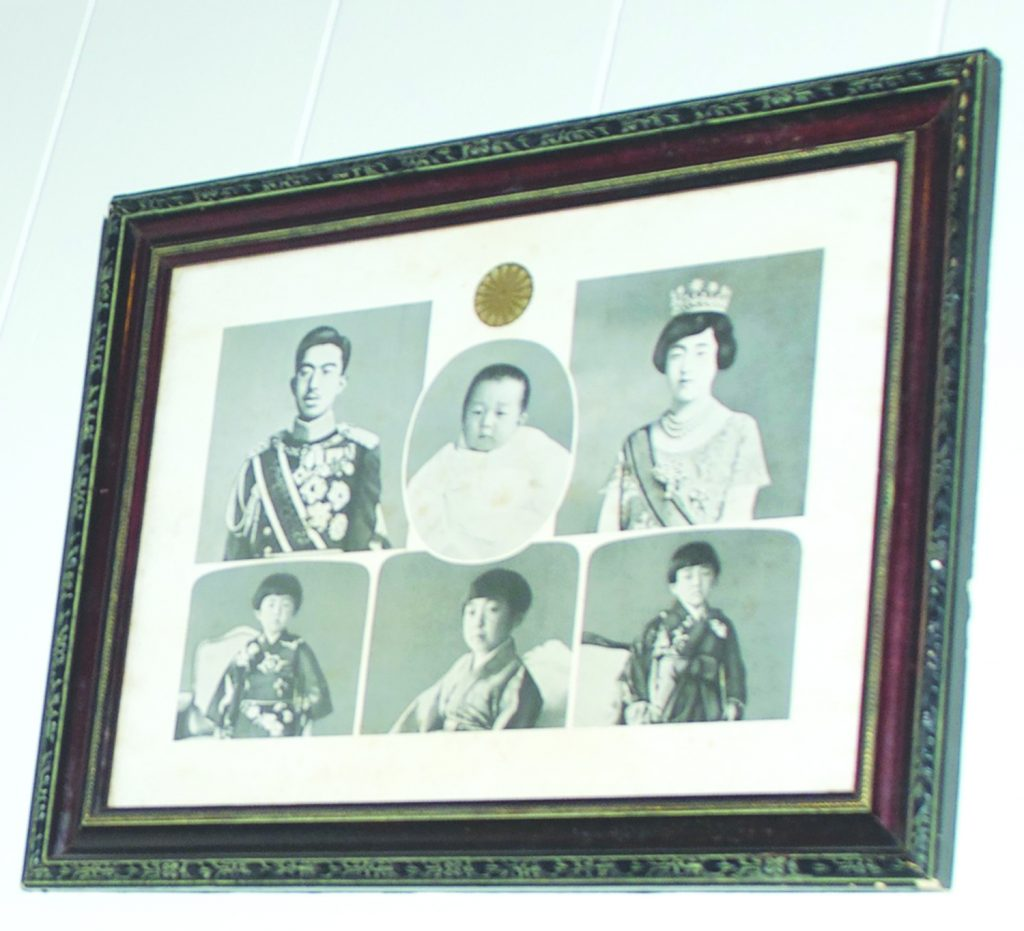 """A framed collection of Emperor Akihito's baby and childhood photos and his parents is part of the Japanese Cultural Center of Hawaii's """"Okage Sama De"""" exhibit. (Photo by Kevin Kawamoto)"""