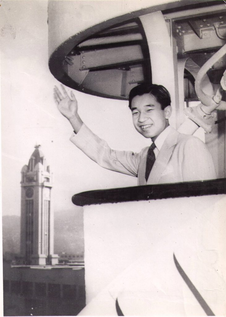 Then-Crown Prince Akihito aboard the SS Woodrow Wilson when it arrived in Honolulu in April 1953. (Courtesy Kevin Kawamoto)
