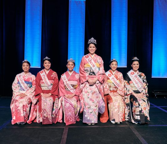The 67th Cherry Blossom court, from left: Miss Congeniality Reeann Minatoya, Princess Katrina Shimomura, First Princess Kayla Ueshiro, Queen Lauren Sugai, Princess Ariel Lee and Princess and Miss Popularity Taylor Chee. (Photo courtesy of HJJCC)