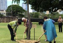 Last June, then-Prince Akishino (now Crown Prince Akishino) and his wife, Princess Kiko, planted a Coral Shower Tree with Honolulu Mayor Kirk Caldwell and his wife Donna Tanoue at Thomas Square to commemorate the 150th anniversary of the arrival of the Gannenmono, the first immigrants from Japan. (Photo by Jodie Ching)