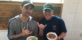 James Bilyeu and I show off our poke bowls. James is the son of the late Kalapana vocalist Malani Bilyeu. His girlfriend is from Yomitan. (Photos courtesy Colin Sewake)