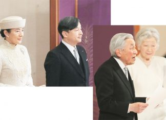 "(Left) Japanese Crown Prince Naruhito and Crown Princess Masako attend the ""Taiirei Seiden no gi"" ceremony marking Emperor Akihito's abdication at the Imperial Palace in Tokyo on April 30, 2019. (Kyodo photo)(Right) Japanese Emperor Akihito, accompanied by Empress Michiko, gives a final farewell to the public during the ""Taiirei Seiden no gi"" abdication ceremony at the Imperial Palace in Tokyo on April 30, 2019, the last day of the Heisei Era. (Kyodo photo)"