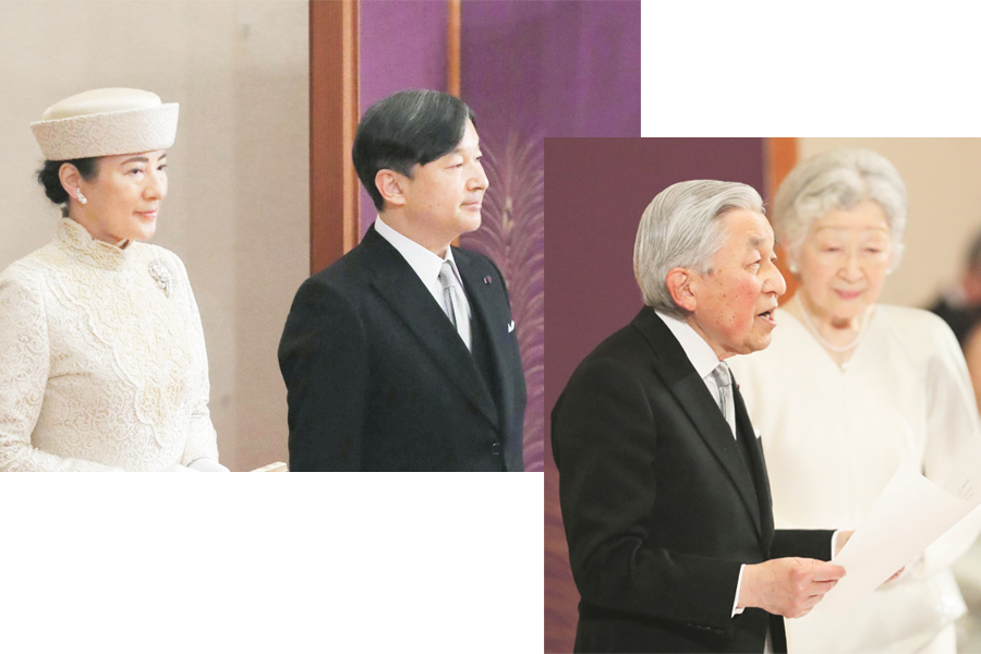 """(Left) Japanese Crown PrinceNaruhitoand Crown Princess Masako attend the """"Taiirei Seiden no gi"""" ceremony marking Emperor Akihito's abdication at the Imperial Palace in Tokyo on April 30, 2019. (Kyodo photo)(Right) Japanese EmperorAkihito, accompanied by Empress Michiko, gives a final farewell to the public during the """"Taiirei Seiden no gi"""" abdication ceremony at the Imperial Palace in Tokyo on April 30, 2019, the last day of the Heisei Era. (Kyodo photo)"""
