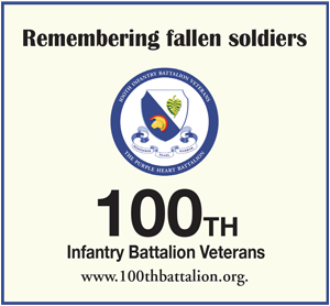 Ad for 100th Infantry Battalion Veterans (100thbattalion.org) 'Remembering fallen soldiers'