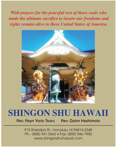 Ad for Shingon Shu Hawaii 'With prayers for the peaceful rest of those souls who made the ultimate sacrifice to insure our freedoms and rights remain alive in these United States of America'