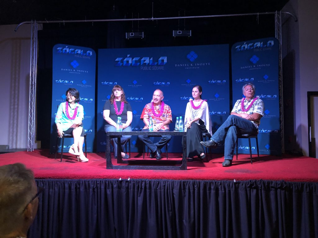 The panelists (from left): moderator Noe Tanigawa; sociolinguist Sara Roberts; former Gov. John Waihe'e III; Katie Drager of the UH Charlene Junko Sato Center for Pidgin, Creole, and Dialect Studies; and comedian Andy Bumatai.