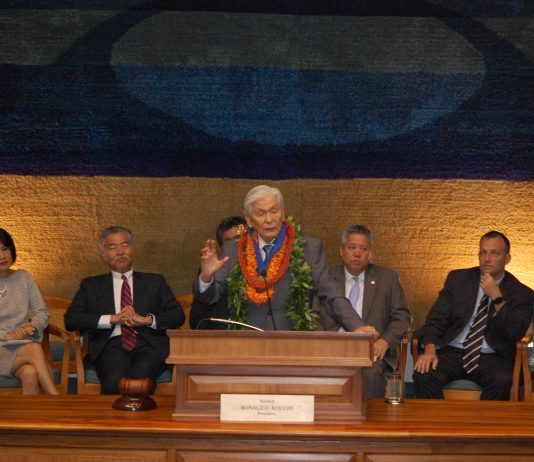 Gov. George Ariyoshi was inducted into the Hawai'i State Aloha Order of Merit on April 29, in the Senate chambers of the State Capitol. (Photos by Jodie Ching)