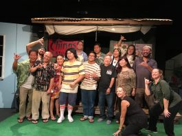 "Playwright Darrell H.Y. Lum (front row, second from right) with the cast and crew of ""Da Beer Can Hat."" From left: Marcus Oshiro, Eddy Gudoy, Maile Kapua'ala, Brandon Hagio (""Bobo""), Ku'umakaonaona (""Junior"") Bailon, Lum, and co-director Karen Hironaga. Back row, from left: Jason Lee Hoy, Daryl Bonilla, Ron Encarnacion, Maki'ilei Ishihara, Paul Yau and co-director Denny Hironaga. Squatting, front right: stage manager Marty Wong and lighting technician Nicole Tessier. (Photo by Karleen Chinen)"