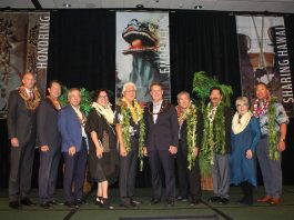 From left: Jacce Mikulanec, president and executive director of JCCH; Ken Hayashida, JCCH board chair; Consul General of Japan Koichi Ito; attorney Christine Kubota; Alan Oshima, president and CEO of Hawaiian Electric Company; U.S. Rep. Ed Case; Chef Alan Wong; Lenn Sakata, former Major League Baseball player; Carole Hayashino, president emeritus of JCCH; and Coach Gerald Oda.