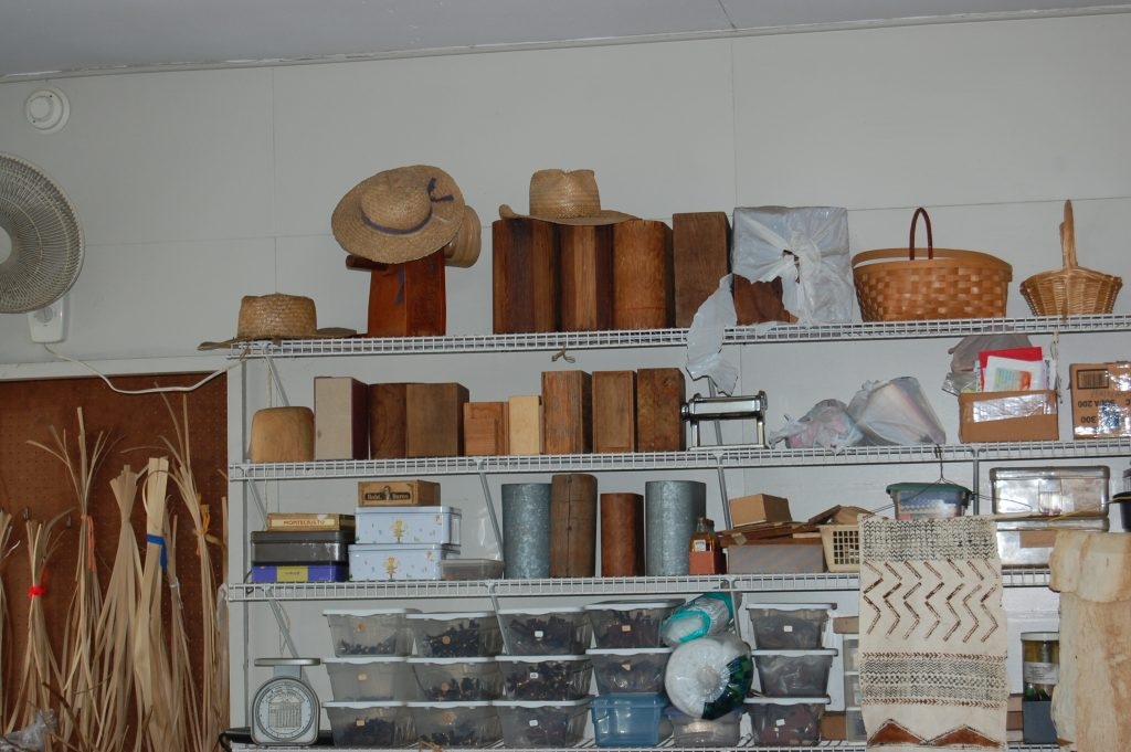 Various forms, hardware and tools are used to make lauhala items.