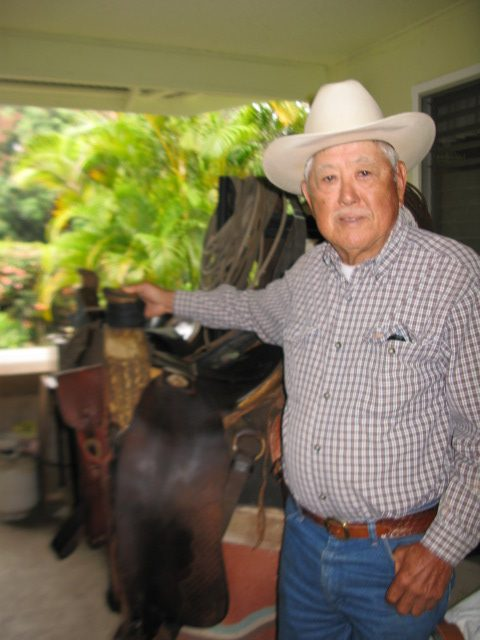 Third-generation Onaka Ranch owner Charlie Onaka at his family ranch in Hölualoa. (Photo by Dan Nakasone)