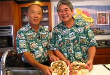 """Seniors Living in Paradise"" co-hosts George Yoshida (left) and Derek Kurisu show off some simple dishes they prepared. (Photo courtesy KTA Super Stores)"