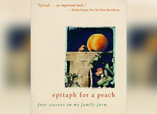 Book cover with title 'epitah for a peach four seasons on my family farm' by David Mas Masumoto