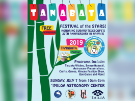 Flyer for 'Tanabata Festival of the Stars!' on 7/7/2019 from 10am-3:00pm on the Big Island