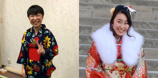 JCAH scholarship recipients Mollie Green (left) and Mayuko Yoshida