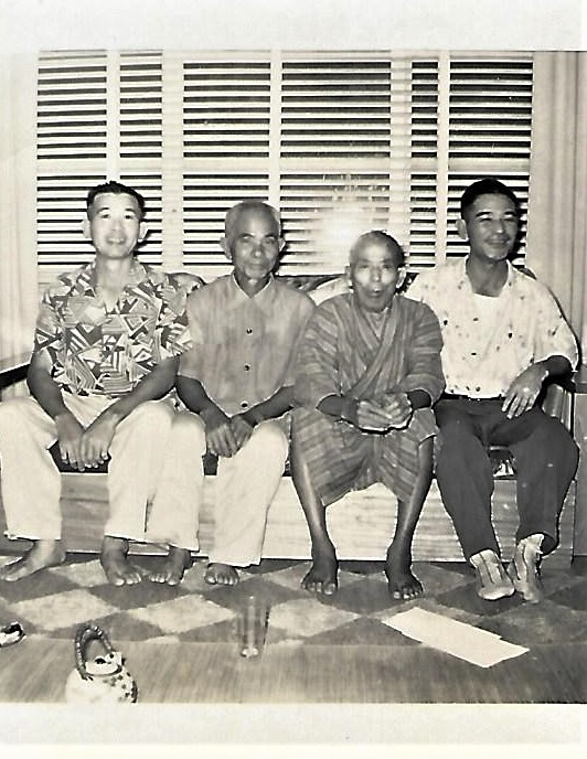 The early Nakasone Issei (from left): Yeiso, Matsukichi, Yeison and Jiro Nakasone. Yeison was the first of the Nakasone clan to immigrate to Hawai'i from Aza Yogi. Yeison's son, Yeiso, and Jiro (writer Dan Nakasone's grandfather) were first cousins. Yeison and Matsukichi's wife, Ushii (and Jiro's wife Kamei), were also cousins. (Photo courtesy: Taeko Nakasone)