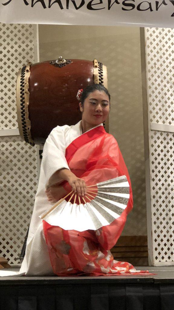 Nanako Numazaki dancing at the Fukushima Kenjin Kai's 95th anniversary celebration in June 2018. (Photo by Jodie Ching)