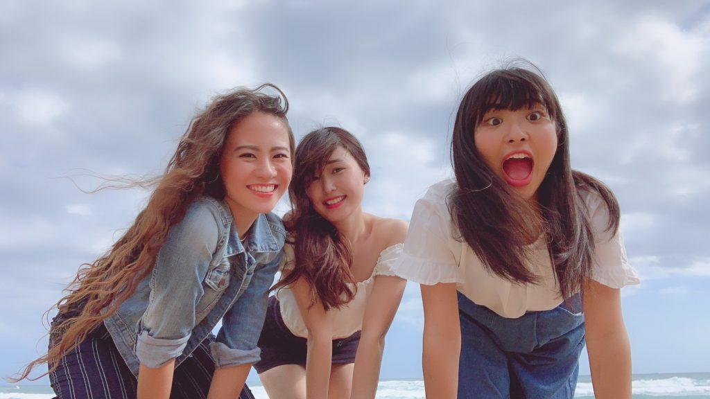 Nanako Numazaki (far right) hamming it up with friends.