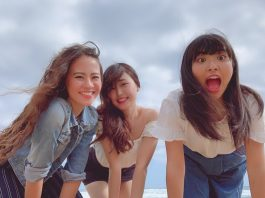 Nanako Numazaki (far right) hamming it up with friends.