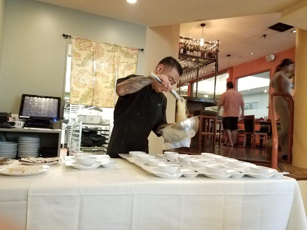 Chef Keith Endo preps the plates. (Photos courtesy of Ryan Tatsumoto)