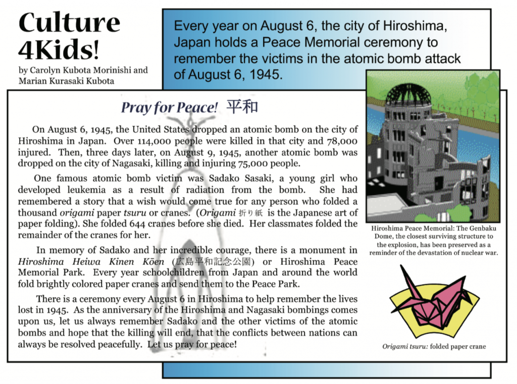 Culture4Kids! Pray for Peace featured in August 2, 2019 issue