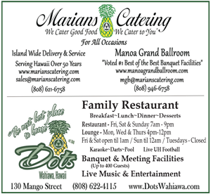 Ad for Marians Catering 'We Cater good food, We Cater to you'