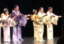 """The Kikunobu Dance Company presented a concert featuring traditional, contemporary and folk dances of Japan as part of the University of Hawai'i at Mänoa's 2019 Asia Pacific Dance Festival on June 28. The performance was held in the Kennedy Theatre as a """"Local Motion!"""" concert to feature the rich diversity in the island community. (From left) Kikunobu Dance Company founder Gertrude Yukie Tsutsumi (Onoe Kikunobu), her master student Howard Asao (Onoe Kikunobukazu), and from Japan, Onoe Kikushiro and Onoe Kikukata."""