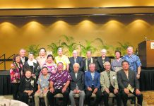Dr. Genshitsu Sen hosted a dinner reception for friends and members of the Chado Urasenke Tankokai Hawaii Association. Front row, from left: Dr. Ruth Ono, Dr. Dennis Ogawa, Maui County Mayor Mike Victorino, Dr. Genshitsu Sen, Consul General Koichi Ito, Japan's former ambassador to the U.S. and advisor to Urasenke Foundation Shichiro Amae and Hirohisa Koyama. Middle row, from left: former first lady Lynne Waihe'e, Hidemi Amae and Joycelyn Victorino. Back row, from left: former Tanko Kai Hawaii President Akemi Kurokawa, Takehiko Kato, UH President David Lassner, East-West Center President Richard Vuylsteke, Honpa Hongwanji Mission of Hawaii Bishop Eric Matsumoto, Dr. Robert Huey, Souko Sakurai and Mark Burak.