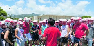 The Kosei Gakuen Lotus team huddles
