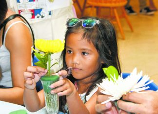 Five-year-old Evelyn Camero works on her own ikebana arrangement while her uncle, Peter Kawamoto (next to her, but not pictured), works on his own arrangement.