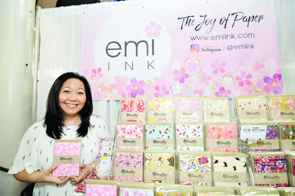 Stacey Emi Shiroma's Emi Ink booth celebrated Shiroma's love for paper and the Japanese art of papermaking. Shiroma enjoys visiting her favorite places in Japan, where she enjoys taking in nature and buys and makes paper from scratch. You can see her selection of beautiful paper products at emiink.com. (Photos by Wayne Shinbara)