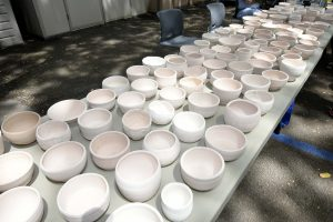 Unglazed tea bowls were available for purchase for $15.