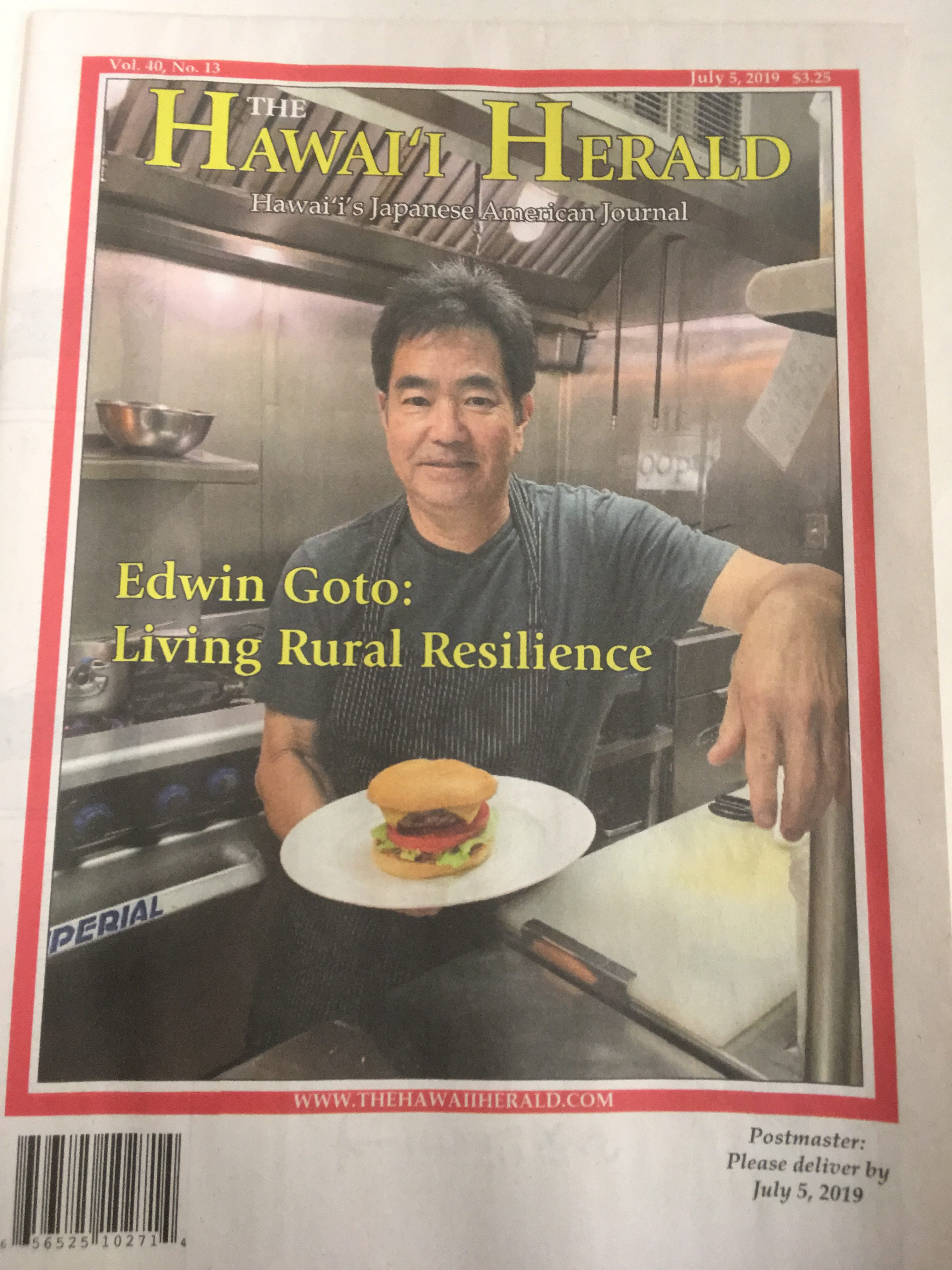 Chef Edwin Goto was featured on the cover of The Hawai'i Herald's July 5, 2019, edition. This photo was taken in June, before symptoms of Goto's secondary Raynaud's began taking their toll on his body.