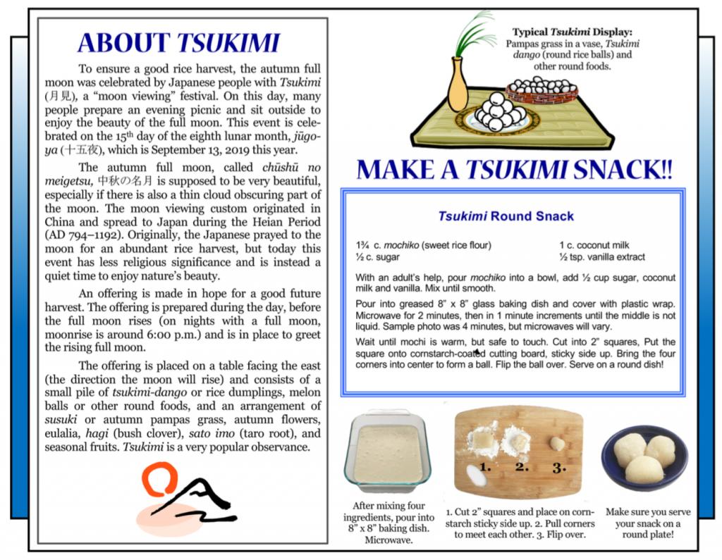 Culture4Kids! 'About Tsukimi', 'Make a Tsukimi Snack!'