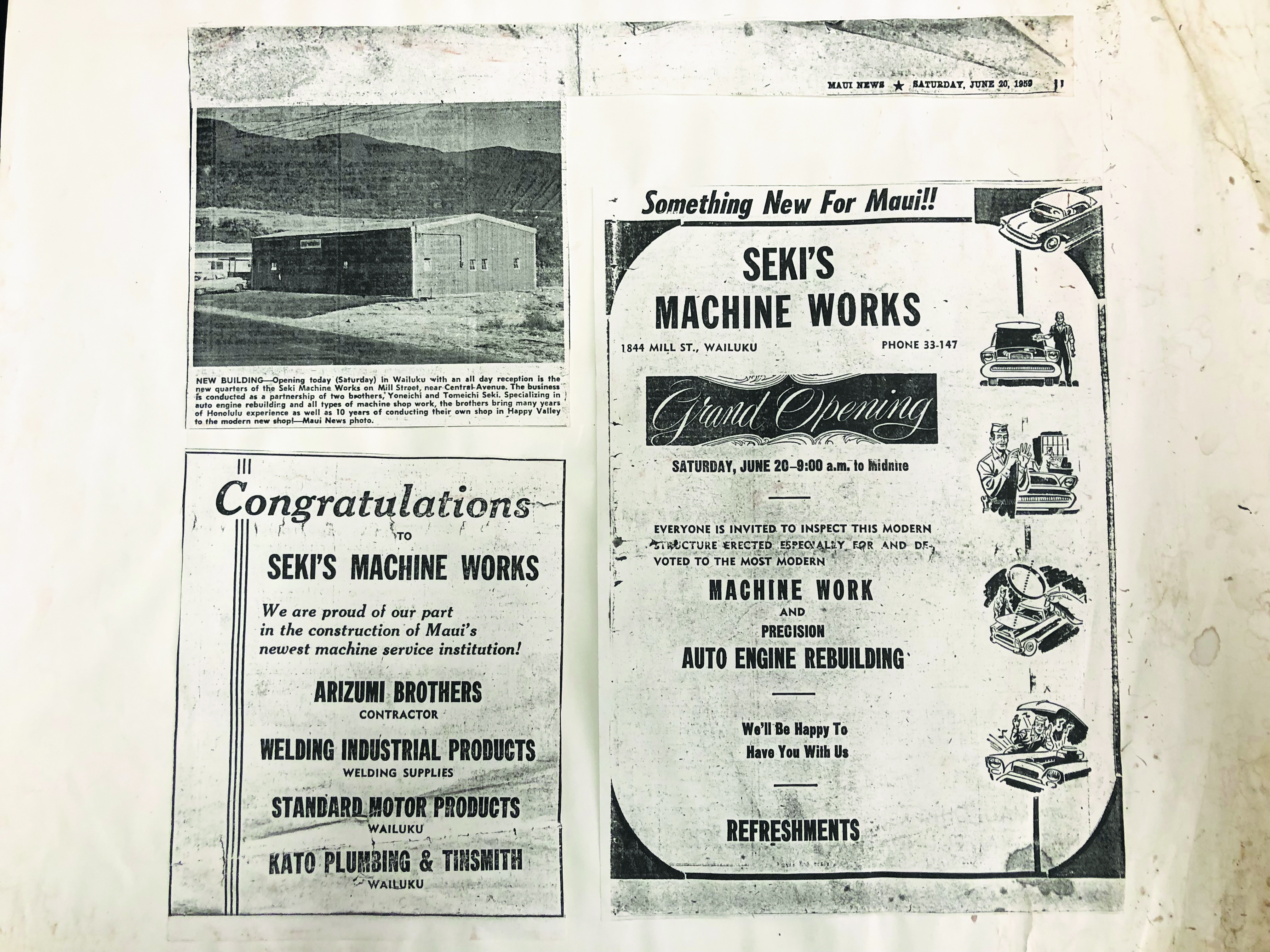 Advertisement for the opening of Seki Machine Works in 1959, the same year Hawai'i became a state.