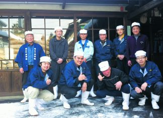Tassho Pearce with the sake-making crew at Dewazakura Sake Brewery in Yamagata. (Photos courtesy Tassho Pearce)