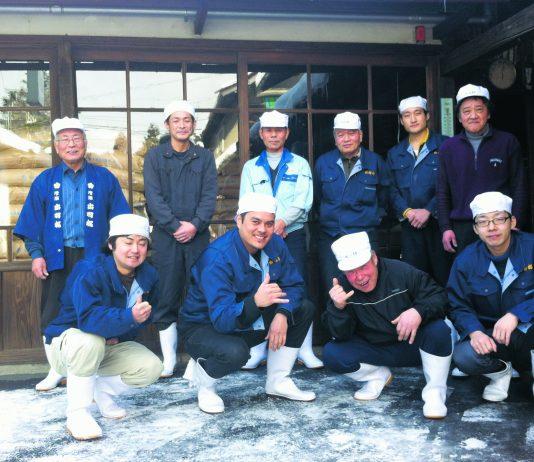 Tassho Pearce with the sake-making crew at Dewazakura Sake Brewery in Yamagata. (Photos courtesy Tassho Pearce)