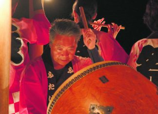 "Taiko drummer, Hisakatsu Yokoyama, and fellow evacuees of Futaba, Fukushima fight to keep their beloved ""Futaba Bon-Uta"" alive after their furusato, or hometown, is wiped out by the 2011 earthquake and tsunami that hit the Töhoku region in Japan. (Photos courtesy 2018 Telecom Staff, Inc.)"