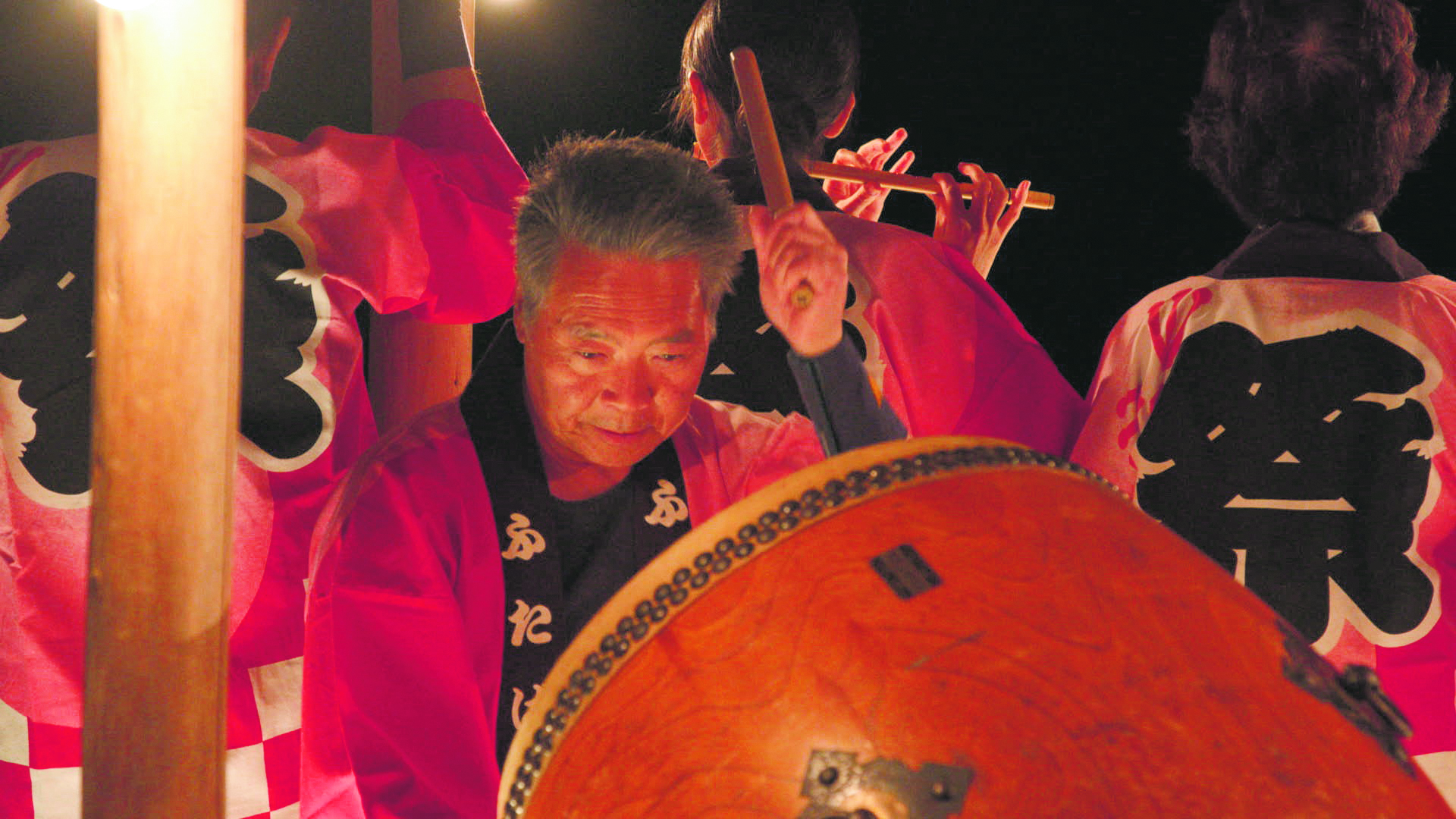 """Taiko drummer, Hisakatsu Yokoyama, and fellow evacuees of Futaba, Fukushima fight to keep their beloved """"Futaba Bon-Uta"""" alive after their furusato, or hometown, is wiped out by the 2011 earthquake and tsunami that hit the Töhoku region in Japan. (Photos courtesy 2018 Telecom Staff, Inc.)"""