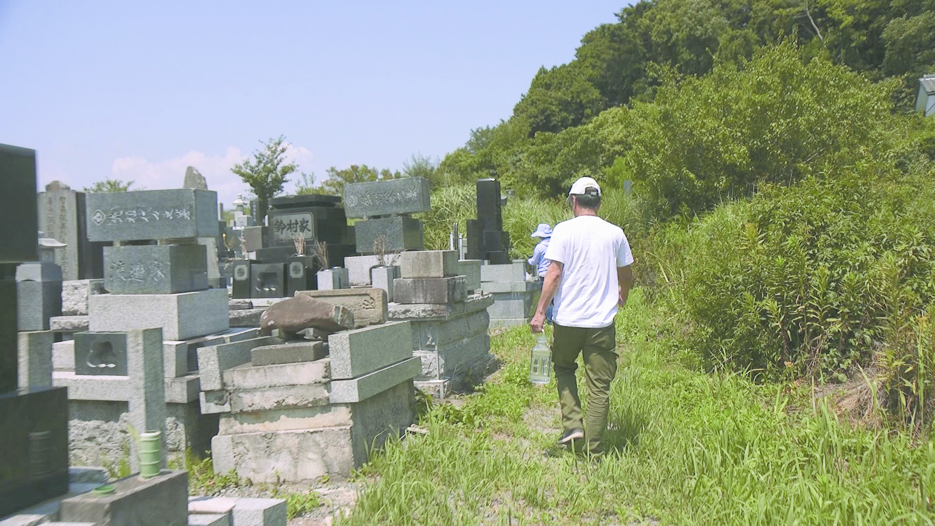 In the graveyard in Futaba, the headstones broke off of their foundation and the names of the deceased that once stood upright, have respectfully returned to the tops of the grave, but lain on their sides.