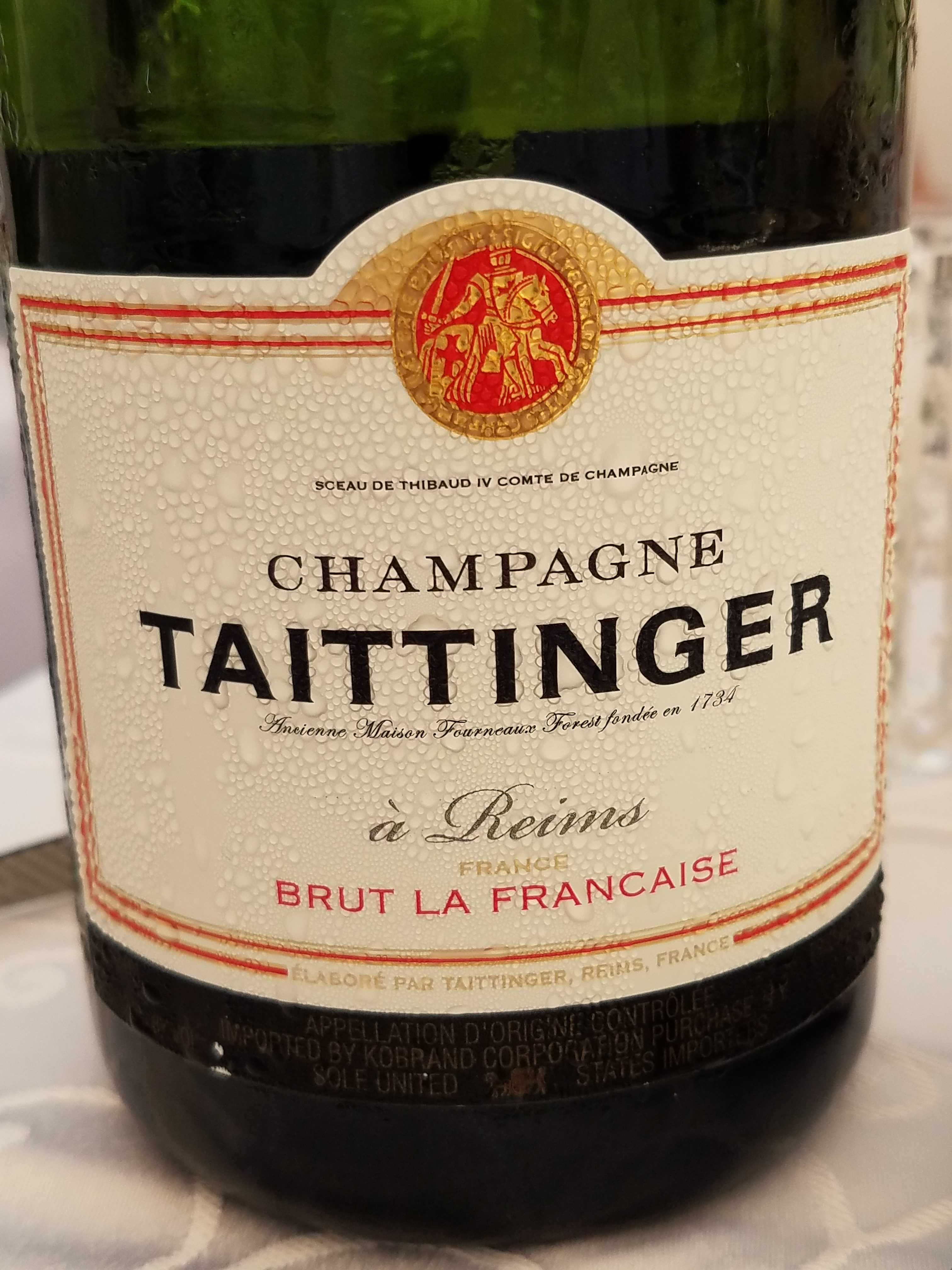 Attendees could purchase a bottle of Champagne Taittinger to compliment their meal