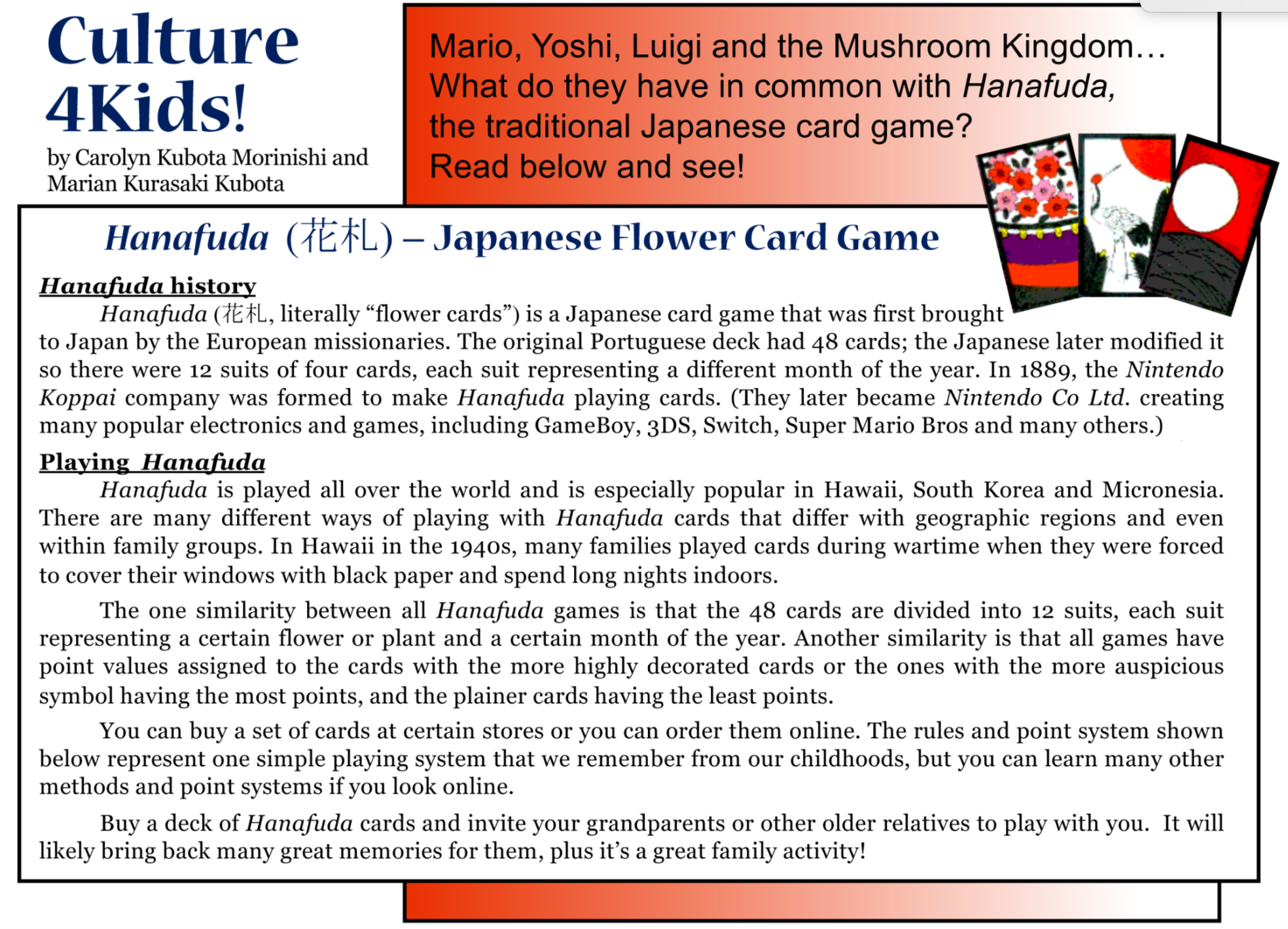 Culture4Kids! 'Hanafuda - Japanese Flower Card Game'